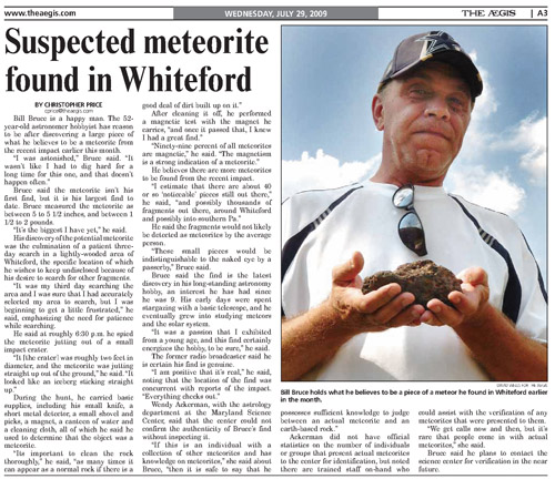 PA Fireball meteorite possible found July 29, 2009 Whiteford MD USA