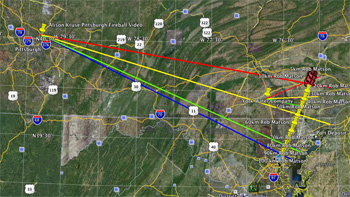 Blue = Entry point; Green = First Location; Yellow = Second Location; Red = Horizon Impact Point