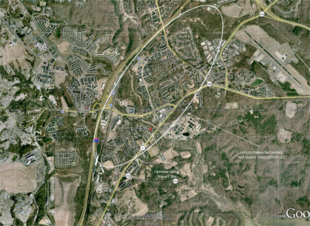 Lorton VA Estimated Strewnfield Map - Hot zone