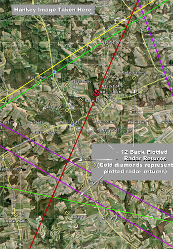 12 Plotted Radar Returns - Suspected Terminal Burst