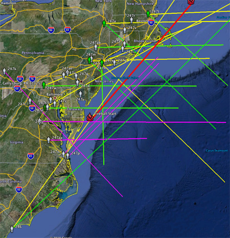 East Coast Fireball - Estimated Path - May 10th, 2010