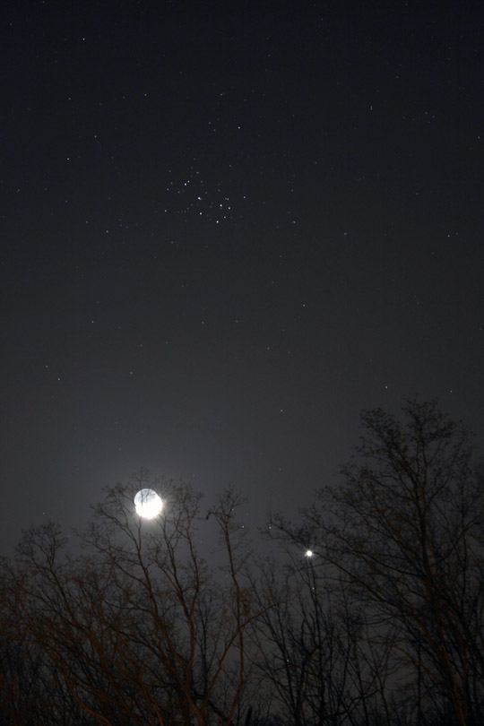 Moon, Venus and Pleiades - March 26th, 2012