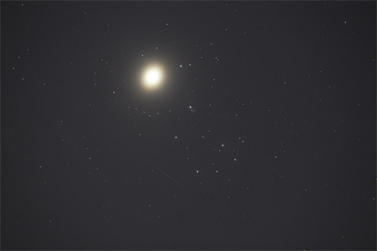 Venus, Pleiades and Satellite - April 3rd 2012