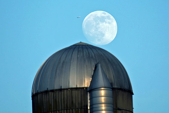 Almost Super Moon over Silo with Plane! - June 21st, 2013
